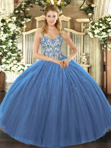 Navy Blue Tulle Lace Up Straps Sleeveless Floor Length Quinceanera Gowns Appliques