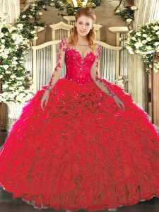 Stunning Floor Length Lace Up Quinceanera Gowns Red for Military Ball and Sweet 16 and Quinceanera with Lace and Ruffles