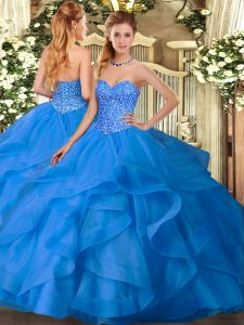 Sweet Tulle Sweetheart Sleeveless Lace Up Appliques and Ruffles Party Dress in Blue