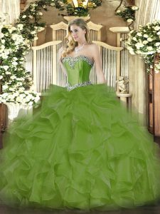 Olive Green Lace Up Sweetheart Beading and Ruffles Casual Dresses Organza Sleeveless