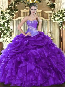 Simple Purple Sleeveless Floor Length Beading and Ruffles and Pick Ups Lace Up Quinceanera Dress