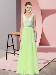 Sophisticated Floor Length Yellow Green Prom Gown Chiffon Sleeveless Beading