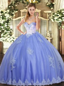 Stylish Tulle Sweetheart Sleeveless Lace Up Beading and Appliques Quinceanera Gown in Blue