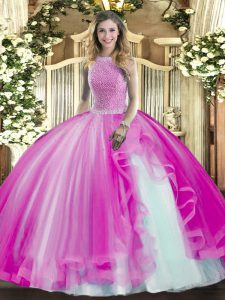 Delicate Sleeveless Lace Up Floor Length Beading and Ruffles Ball Gown Prom Dress