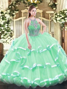 Apple Green Tulle Lace Up Halter Top Sleeveless Floor Length Quinceanera Dress Beading and Ruffled Layers
