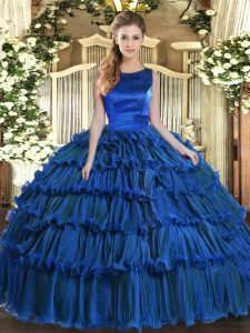 Fancy Floor Length Lace Up Sweet 16 Dress Royal Blue for Military Ball and Sweet 16 and Quinceanera with Ruffled Layers