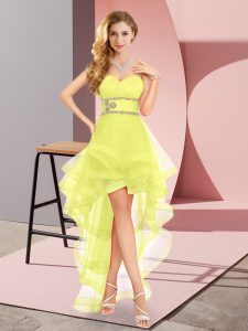 High Low Yellow Prom Party Dress Sweetheart Sleeveless Lace Up