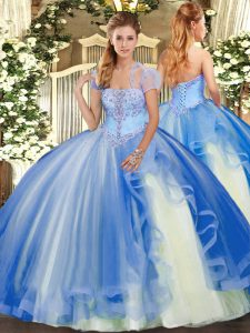 Vintage Blue Ball Gowns Appliques and Ruffles Quinceanera Dresses Lace Up Tulle Sleeveless Floor Length