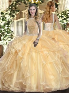 High-neck Sleeveless Lace Up Quince Ball Gowns Champagne Organza