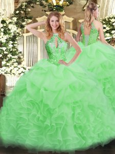Nice Floor Length Quinceanera Gown Organza Sleeveless Beading