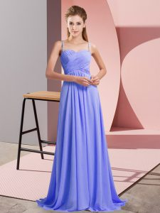 Lavender Prom Evening Gown Prom and Party with Ruching Spaghetti Straps Sleeveless Sweep Train Backless