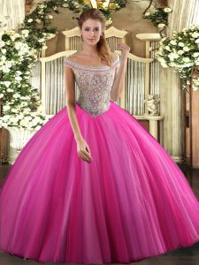 Sleeveless Tulle Floor Length Lace Up Quinceanera Dresses in Hot Pink with Beading