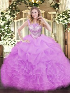 Sleeveless Lace Up Floor Length Beading and Ruffles and Pick Ups Vestidos de Quinceanera