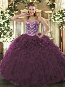 Burgundy Sweetheart Neckline Beading and Ruffled Layers 15 Quinceanera Dress Sleeveless Lace Up