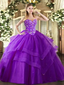 Sweetheart Sleeveless Tulle Sweet 16 Quinceanera Dress Embroidery and Ruffled Layers Lace Up