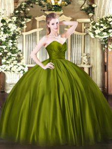 Enchanting Olive Green Organza Zipper Quince Ball Gowns Sleeveless Floor Length Ruching