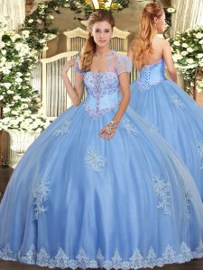 Custom Designed Light Blue Tulle Lace Up Strapless Sleeveless Floor Length Quinceanera Gowns Beading and Appliques