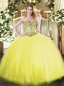 Yellow Sleeveless Floor Length Beading Lace Up 15th Birthday Dress