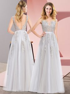 Grey Sleeveless Floor Length Lace and Appliques Backless Evening Dress