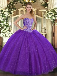 Great Beading 15 Quinceanera Dress Purple Lace Up Sleeveless Floor Length
