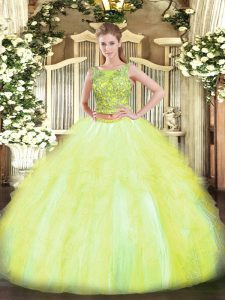 Perfect Yellow Green Two Pieces Scoop Sleeveless Tulle Floor Length Lace Up Beading and Ruffles Quince Ball Gowns