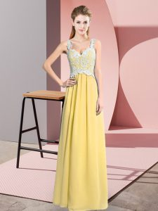 Yellow Sleeveless Floor Length Lace Zipper Evening Dress