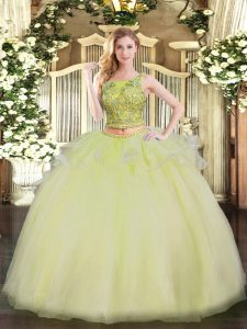 Yellow Scoop Neckline Beading Quinceanera Gowns Sleeveless Lace Up