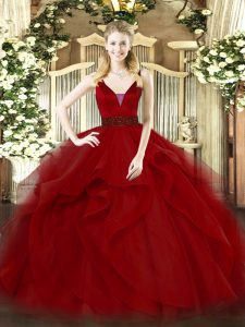 Sleeveless Zipper Floor Length Beading and Ruffled Layers Ball Gown Prom Dress