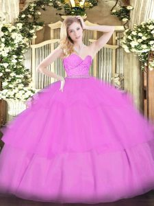 Designer Tulle Sleeveless Floor Length Sweet 16 Quinceanera Dress and Beading and Lace and Ruffled Layers