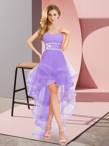 Shining Tulle Sleeveless High Low and Beading