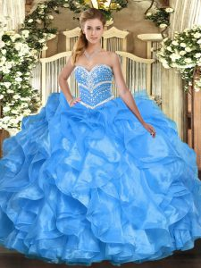 Beauteous Floor Length Ball Gowns Sleeveless Baby Blue 15th Birthday Dress Lace Up