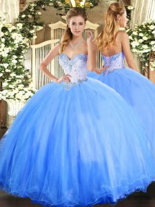 Pretty Floor Length Baby Blue Sweet 16 Quinceanera Dress Tulle Sleeveless Beading