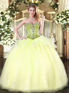 Amazing Light Yellow Lace Up Sweetheart Beading Party Dress for Girls Organza Sleeveless