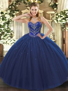 Enchanting Tulle Sweetheart Sleeveless Lace Up Beading Vestidos de Quinceanera in Navy Blue
