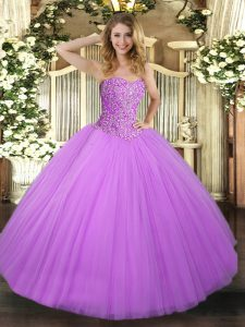Ideal Lilac Sleeveless Floor Length Beading Lace Up Sweet 16 Dresses