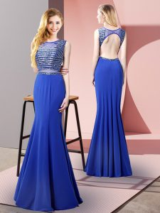 Charming Royal Blue Mermaid Elastic Woven Satin Scoop Sleeveless Beading Floor Length Backless Homecoming Dress