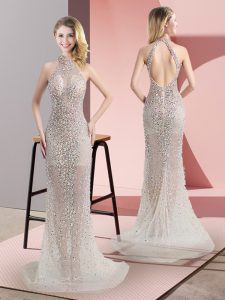 Elegant Mermaid Sleeveless Champagne Prom Evening Gown Sweep Train Backless
