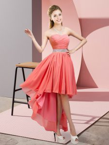 Chic Watermelon Red Chiffon Lace Up Homecoming Dress Sleeveless High Low Beading