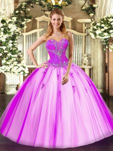 Unique Lace Up Quinceanera Gowns Fuchsia for Sweet 16 and Quinceanera with Beading