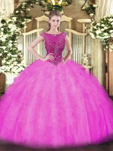 Sleeveless Beading and Ruffles Zipper 15 Quinceanera Dress with Lilac