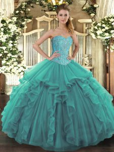 Fashion Turquoise Ball Gowns Tulle Sweetheart Sleeveless Beading and Ruffles Floor Length Lace Up 15 Quinceanera Dress