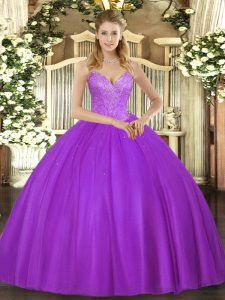 Eggplant Purple Ball Gowns Beading Quinceanera Dresses Lace Up Tulle Sleeveless Floor Length