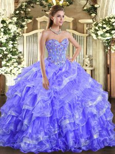 Dynamic Lavender Sleeveless Embroidery and Ruffled Layers Floor Length Quinceanera Dress