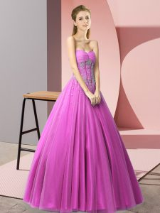 Extravagant Beading Dress for Prom Lilac Lace Up Sleeveless Floor Length
