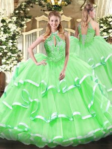 Latest Halter Top Sleeveless Organza Quinceanera Dress Beading and Ruffles Lace Up