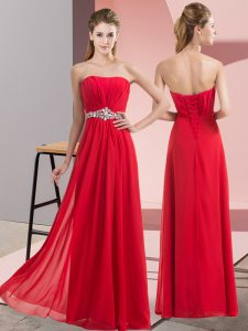 Red Chiffon Lace Up Prom Dresses Sleeveless Floor Length Beading