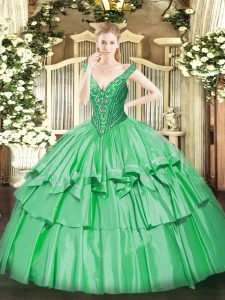 Exquisite Green Sleeveless Organza and Taffeta Lace Up Sweet 16 Dress for Military Ball and Sweet 16 and Quinceanera