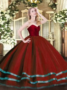 Sleeveless Floor Length Ruffled Layers Zipper 15 Quinceanera Dress with Wine Red