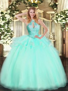 Floor Length Lace Up Sweet 16 Quinceanera Dress Aqua Blue for Military Ball and Sweet 16 and Quinceanera with Beading