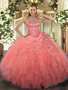 Great Watermelon Red Ball Gowns Organza Halter Top Sleeveless Beading and Embroidery Floor Length Lace Up Quinceanera Gowns